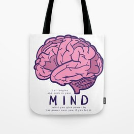 It all begins and ends in your mind. What you give power to has power over you, if you let it. Tote Bag
