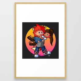 Tomboyish niece in her uncle's arms Framed Art Print