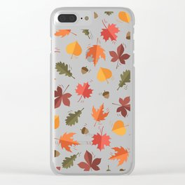 Autumn Leaves Pattern Beige Background Clear iPhone Case