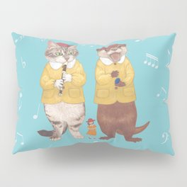 A GIRL WITH CAT and OTTER wide Pillow Sham
