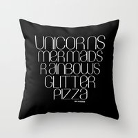 unicorns Throw Pillows featuring Unicorns by Mia & Booboo