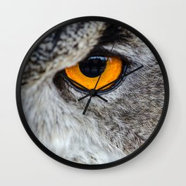 NIGHT OWL - EYE - CLOSE UP PHOTOGRAPHY - ANIMALS - NATURE Wall Clock