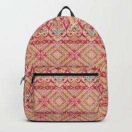 The stripe design on a beige background. Backpack