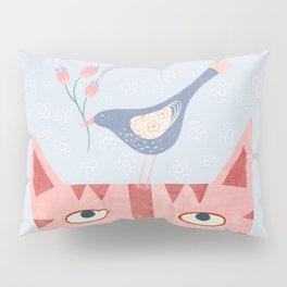Cat, bird and flower Pillow Sham