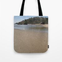 monkey island Tote Bags featuring Walking Towards Monkey Island Palolem by Serenity Photography