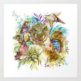 Dinosaur Collage Art Print