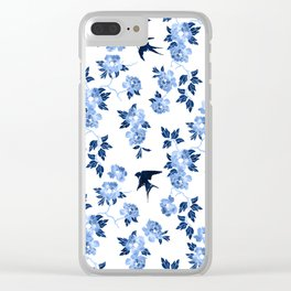 Oriental peonies in sapphire blue Clear iPhone Case