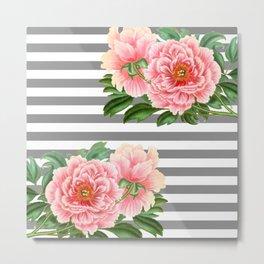 Pink Peonies Grey Stripes Chic Metal Print