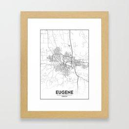 Minimal City Maps - Map Of Eugene, Oregon, United States Framed Art Print