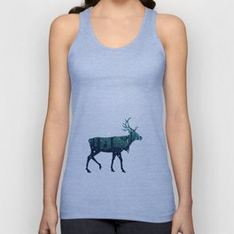Walking deer silhouette with forest Unisex Tank Top