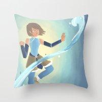 legend of korra Throw Pillows featuring [Legend of Korra] Water by samarasketch