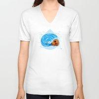 aquarius V-neck T-shirts featuring Aquarius by Giuseppe Lentini