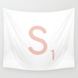 Pink Scrabble Letter S - Scrabble Tile Art and Accessories Wall Tapestry