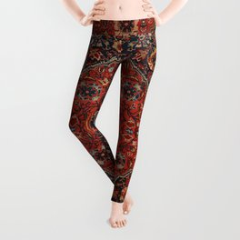 Persian Joshan Old Century Authentic Colorful Red Rusty Blue Vintage Rug Pattern Leggings