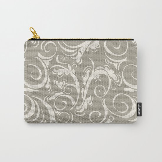 Gray Grey Alabaster Flora Carry-All Pouch