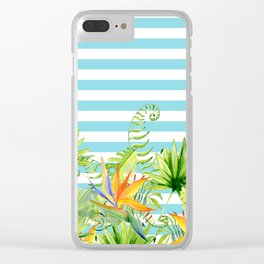 Tropical Chic Teal Blue Stripes Clear iPhone Case