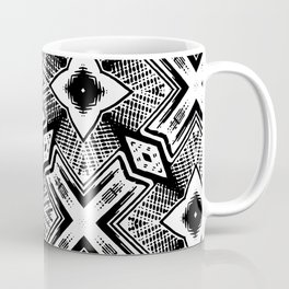Black and White - Woodcut Etching Cross Geometric Coffee Mug
