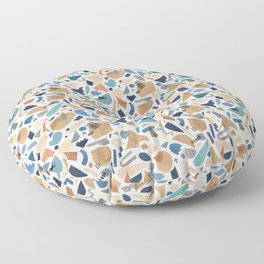 Geometric shapes abstract Blue gold Floor Pillow