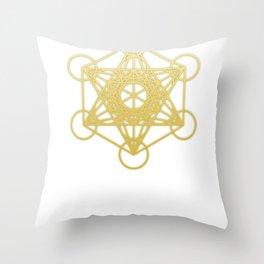 Sacred Geometry Metatron Gold Graphic Throw Pillow