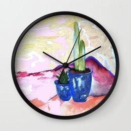 Porch Cactus Vibes - Watercolor Painting Mixed Media Wall Clock
