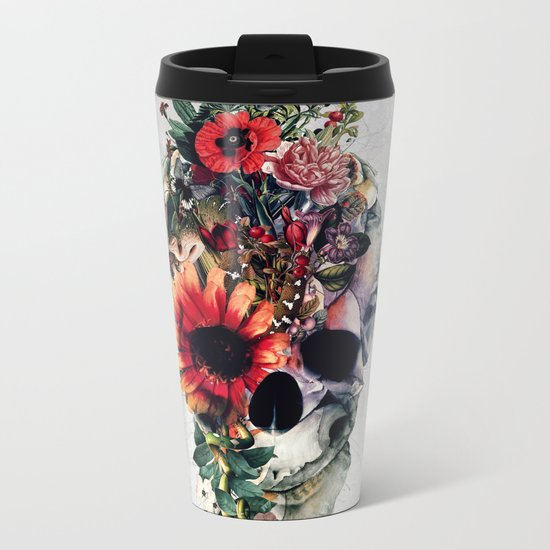 Two Face Skull Metal Travel Mug