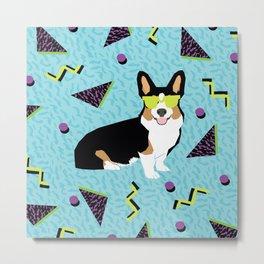 Rad 80s Corgi - 80s, 90s, dog retro, cute bright corgi pattern, corgi design, corgi blanket, corgis Metal Print