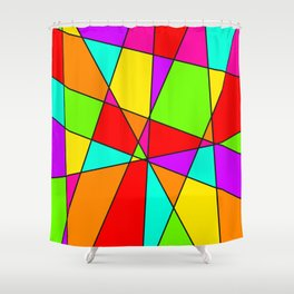 Neon Stained Glass Shower Curtain