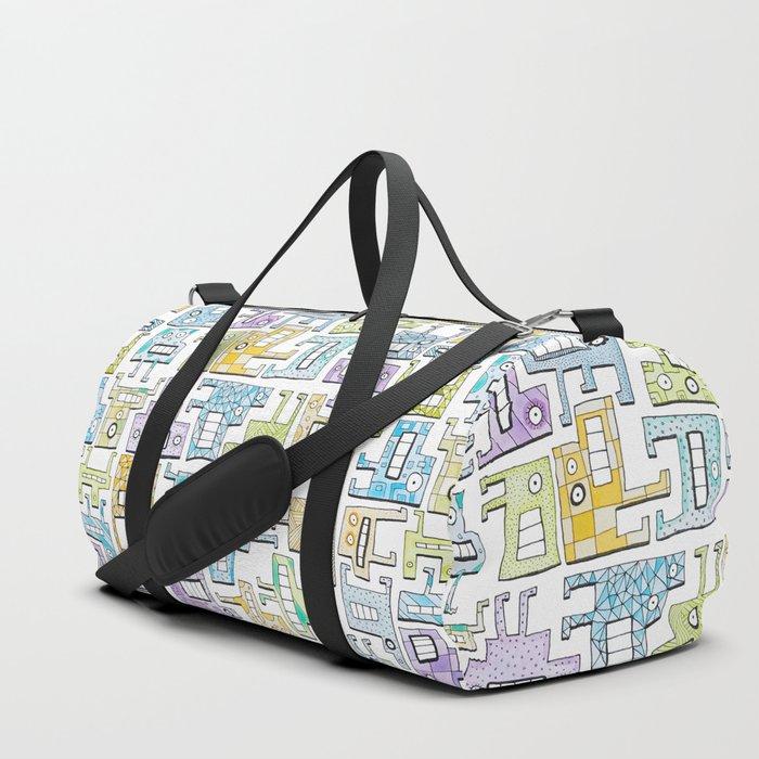Pastel Tetris Monsters Duffle Bag