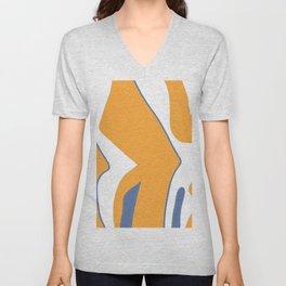 orange blue white shapes Unisex V-Neck