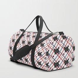 Black Cat Face Plaid Duffle Bag