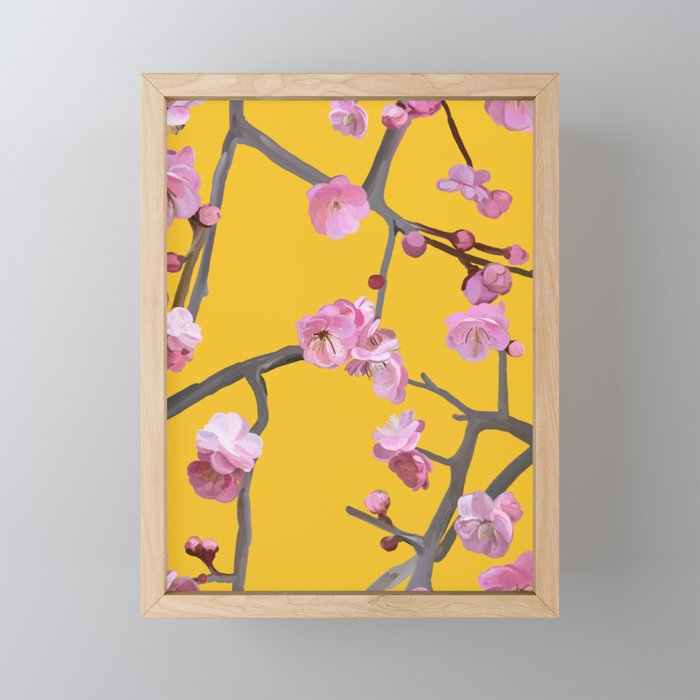 Plum Blossom Pattern Yellow Framed Mini Art Print