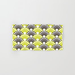 brown and lime art deco inspired fan pattern Hand & Bath Towel