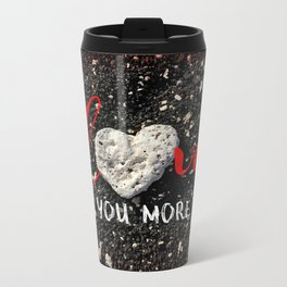"""Love You More"" Hawaii Beach with Coral Heart Photo Metal Travel Mug"