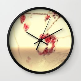 Winter time with red rosehips Wall Clock