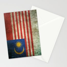 Old and Worn Distressed Vintage Flag of Malaysia Stationery Cards