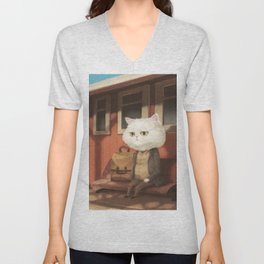 A cat waiting for someone Unisex V-Neck