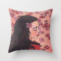 snow white Throw Pillows featuring Snow White by Sarah Larguier