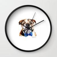 bulldog Wall Clocks featuring bulldog by Heathercook