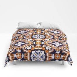 Portuguese Tiles Azulejos Blue Orange Pattern Comforters