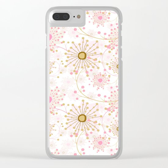 Retro . Abstract pattern Dandelions . Clear iPhone Case
