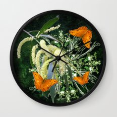 butterflies and wattle with green abstract bouquet Wall Clock