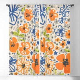 Summer 67 -colorful ink floral pattern Blackout Curtain