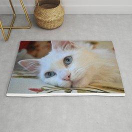 Portrait of A Blue Eyed Van Cat  Rug