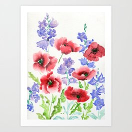 Poppies and Bells Art Print