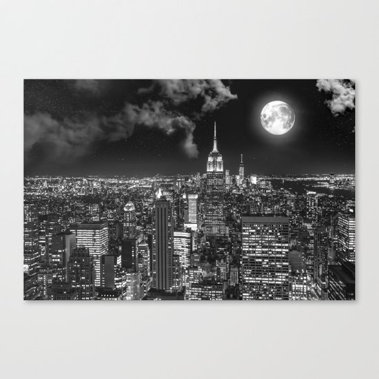 New York Under the Moon Canvas Print