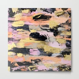 Modern abstract black pink salmon gold hand painted acrylic brushstrokes paint Metal Print