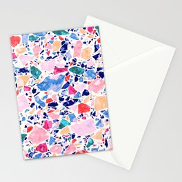 Terrazzo Crystals / Mineral Texture in Blue, Pink and Turquoise Stationery Cards