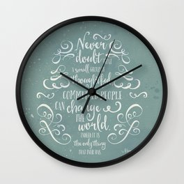 CHANGE THE WORLD - BLUE Wall Clock