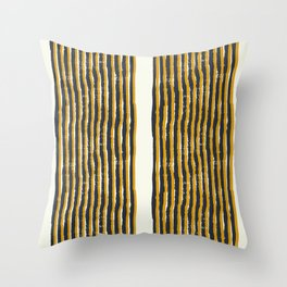 Zen Stripe Block Print Mustard Throw Pillow