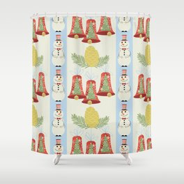 Holiday Pattern of Retro Mid Century Modern Christmas Bells Snowman Pine Cone Branches Shower Curtain